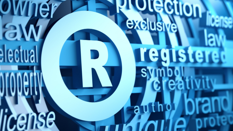 Word collage showing Registered symbol for trademark